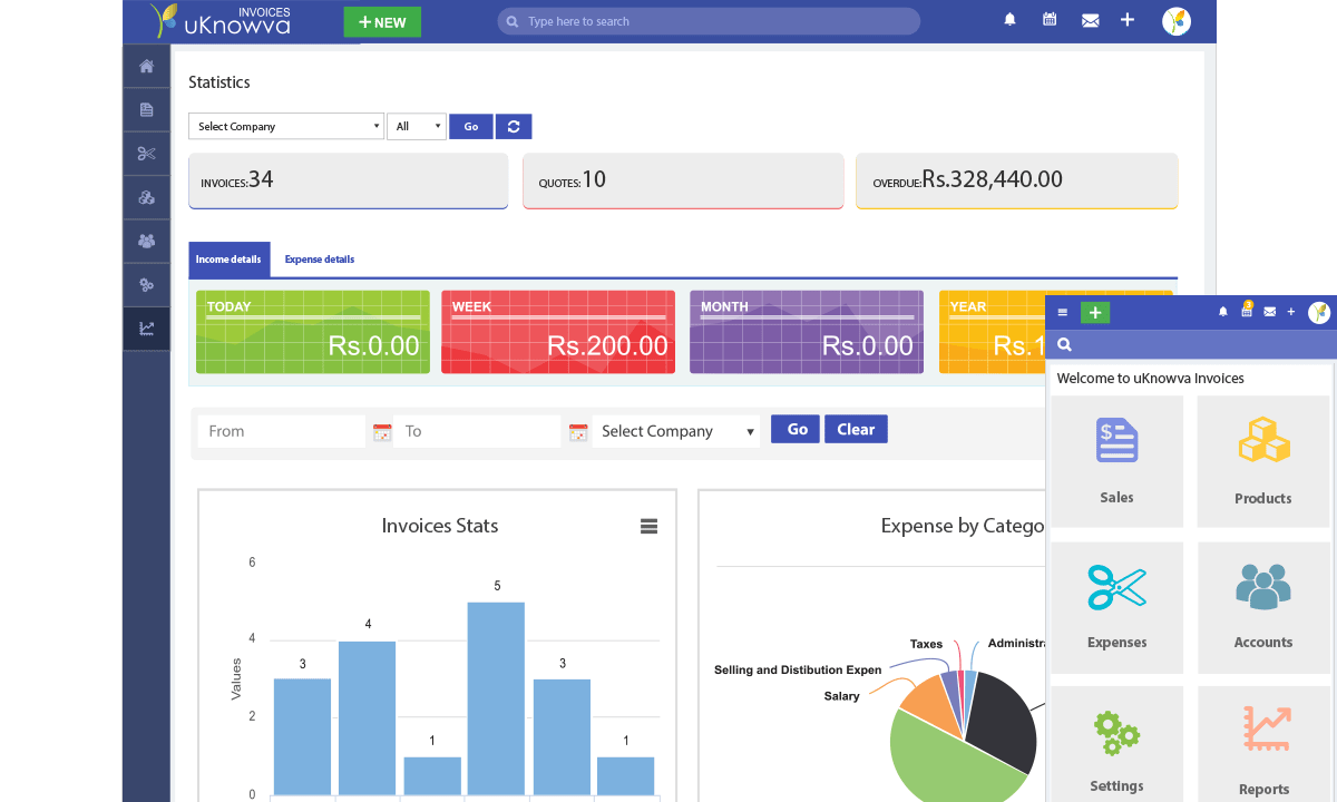 uKnowva Invoices Dashboard